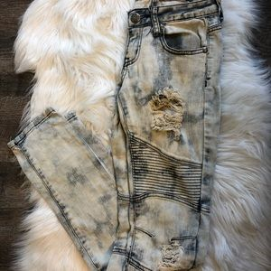 Machine Jeans - Machine Novelle mode acid wash moto distress jeans